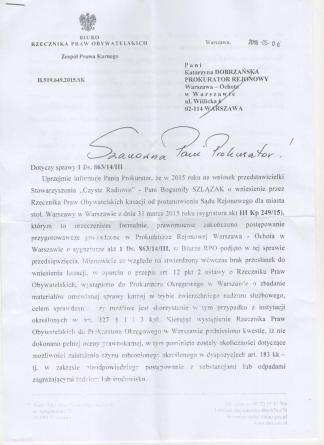 Rzecznik Praw Obywatelskich 6.05.2016
